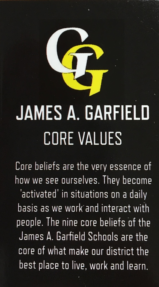 JAMES A. GARFIELD DEFINES EXCELLENCE IN CORE BELIEFS