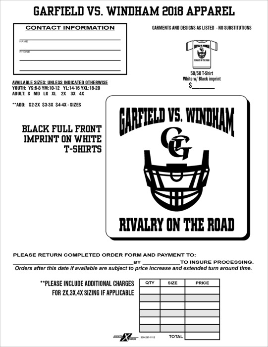 Rivalry Shirt Order Form