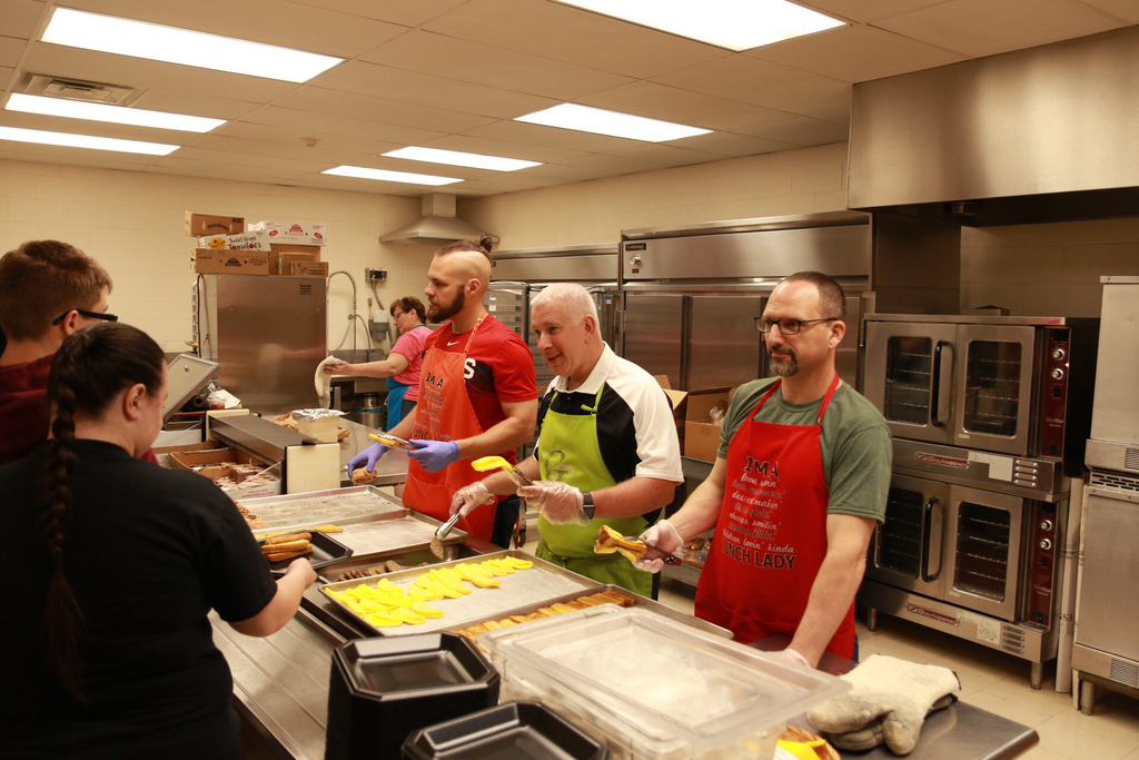 Mr. Schull, Mr. Lysiak, and Mr. Engelhart served up a delicious breakfast for our Seniors this morning.