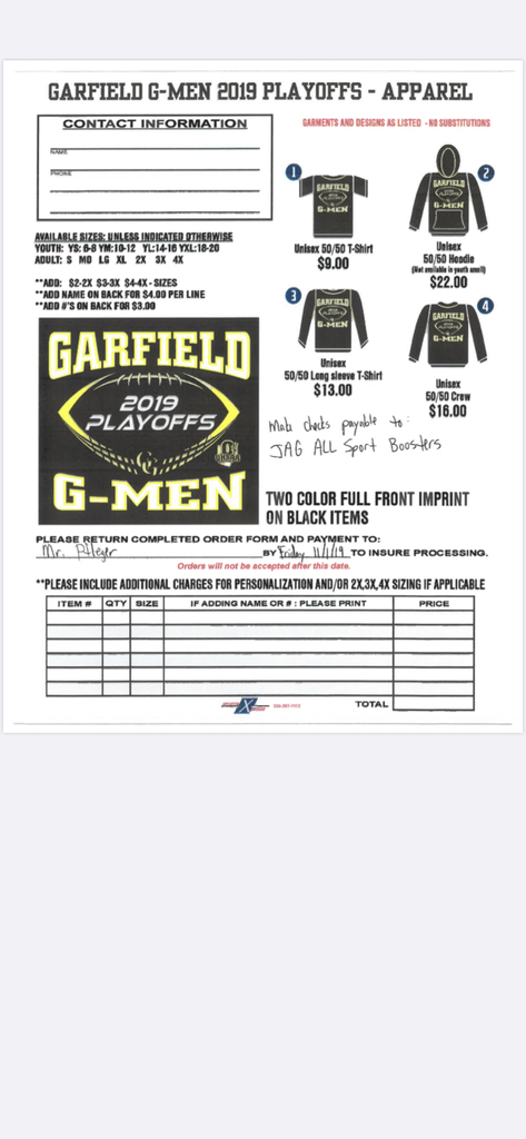 Spirit Gear Order Form