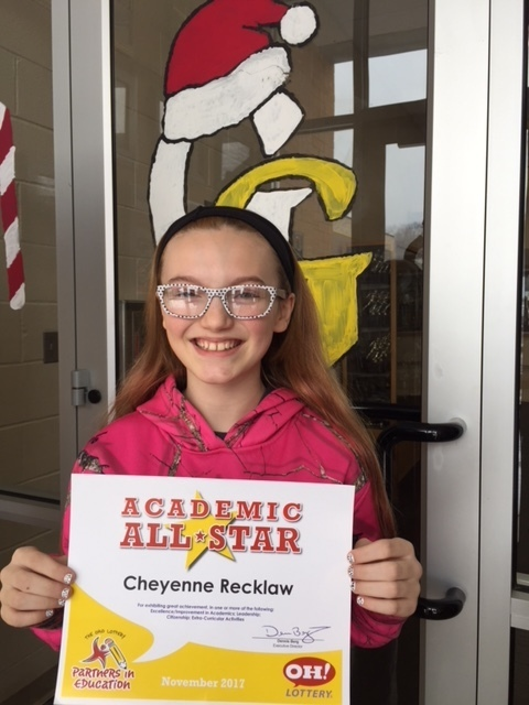 Cheyenne, Academic All Star!
