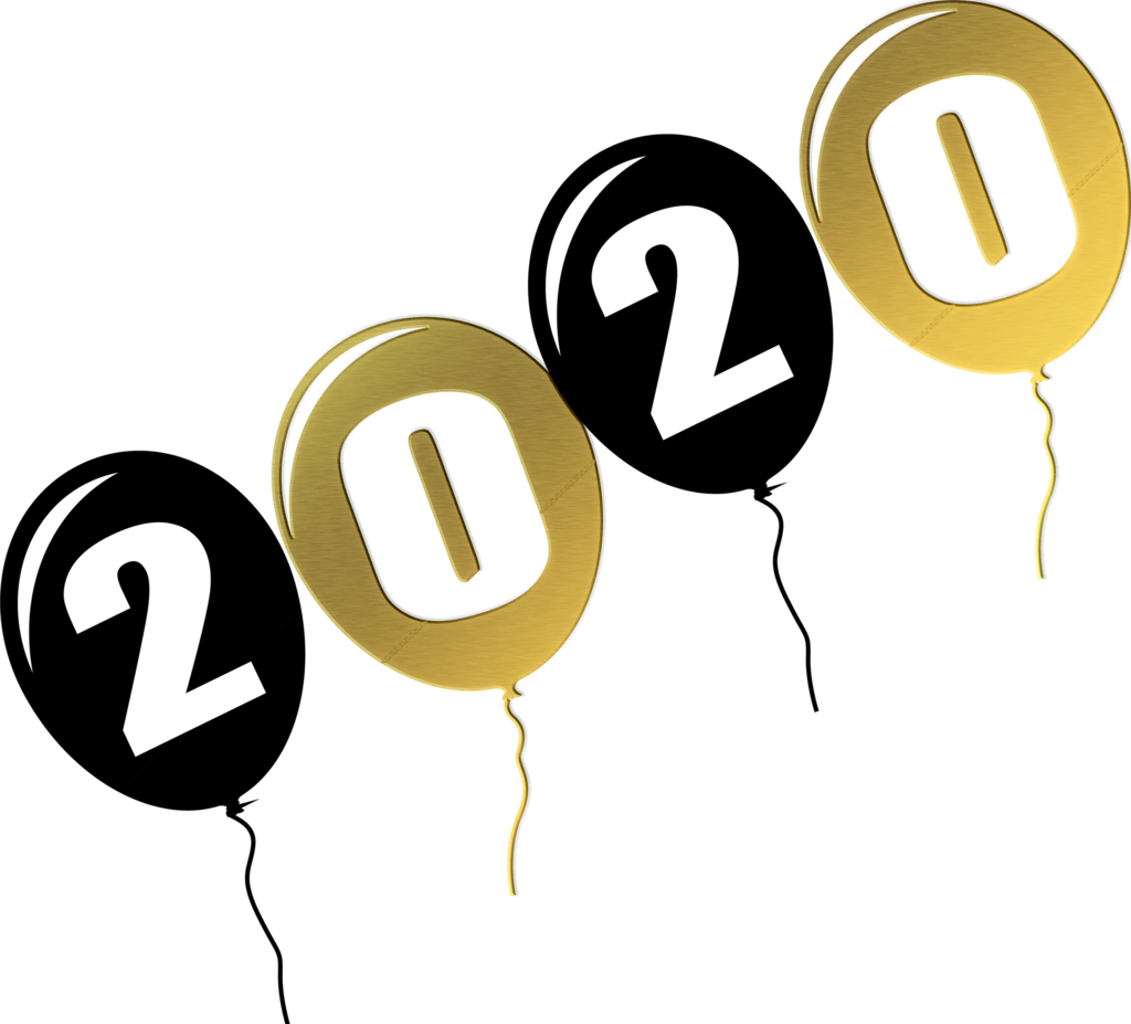 2020 written on black and gold balloons